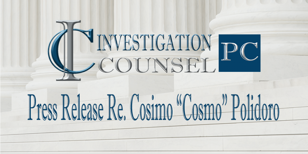 "Press Release Re. Cosimo ""Cosmo"" Polidoro"